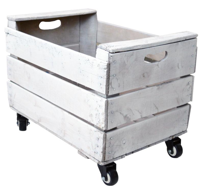 Caja de madera blanca vieja con ruedas 35 5 x 50 x 36 cm for Cajas plasticas con ruedas