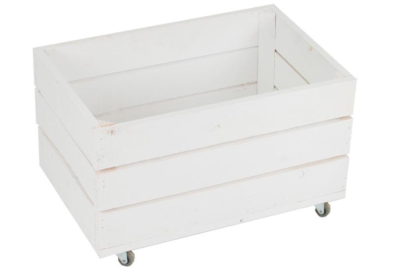 Caja madera blanca 30 x 50 x 30 cent metros con ruedas ref for Cajas de madera blancas