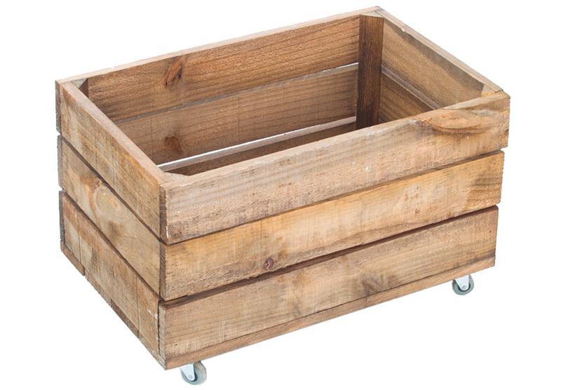 Caja madera envejecida 30 x 50 x 30 cent metros y ruedas - Caja madera con ruedas ...